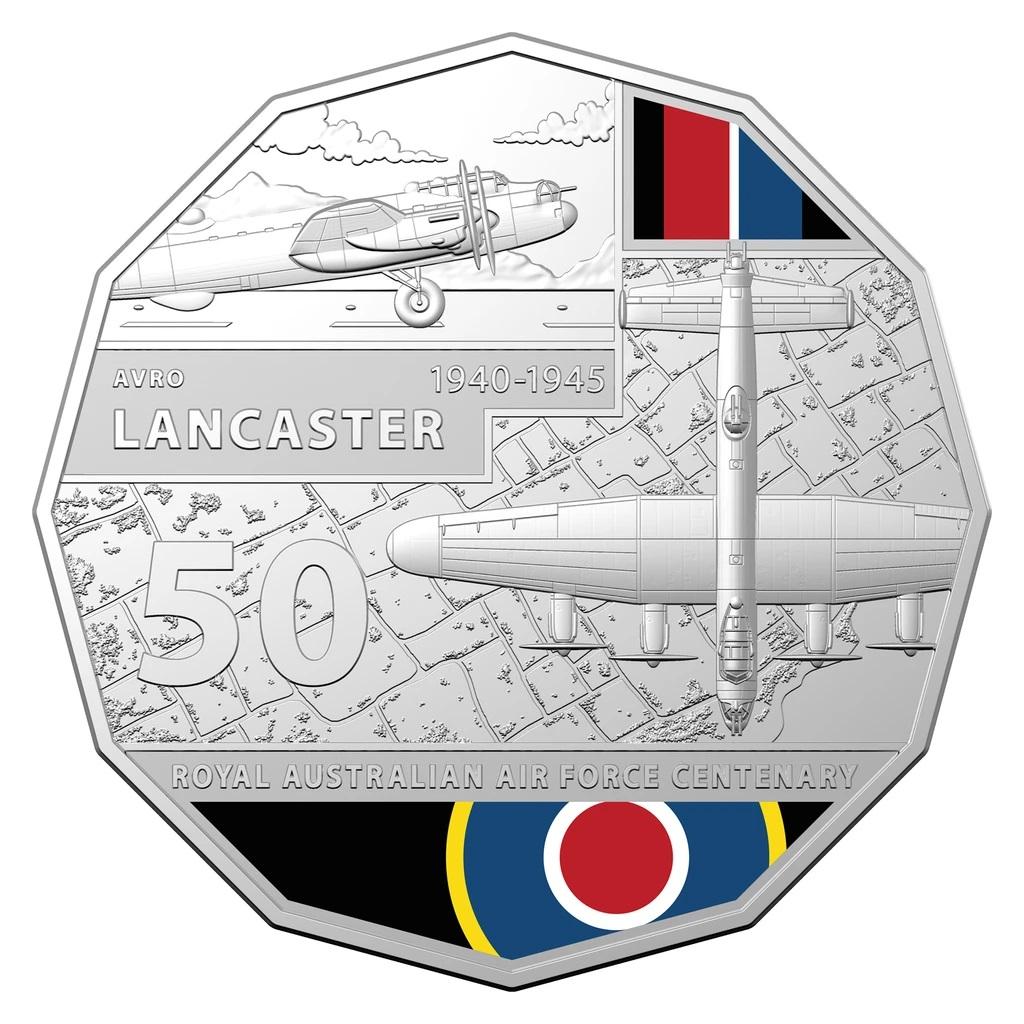 Австралия монета 50 центов Avro Lancaster, реверс