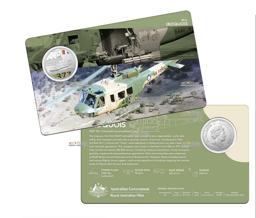 Австралия монета 50 центов Bell UH-1 Iroquois, подарочная упаковка