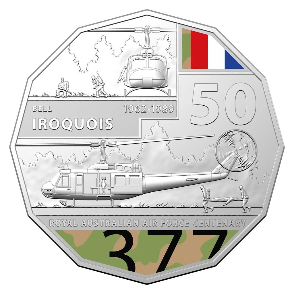 Австралия монета 50 центов Bell UH-1 Iroquois, реверс