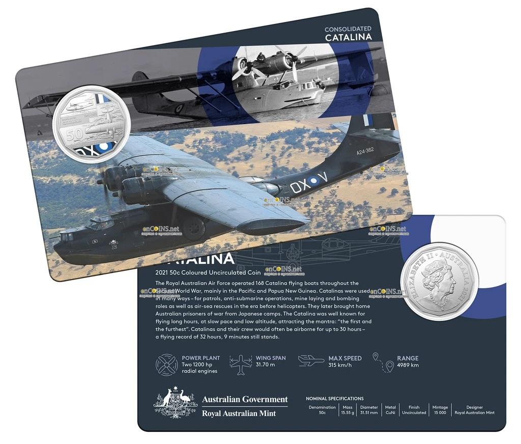 Австралия монета 50 центов Consolidated PBY Catalina, подарочная упаковка