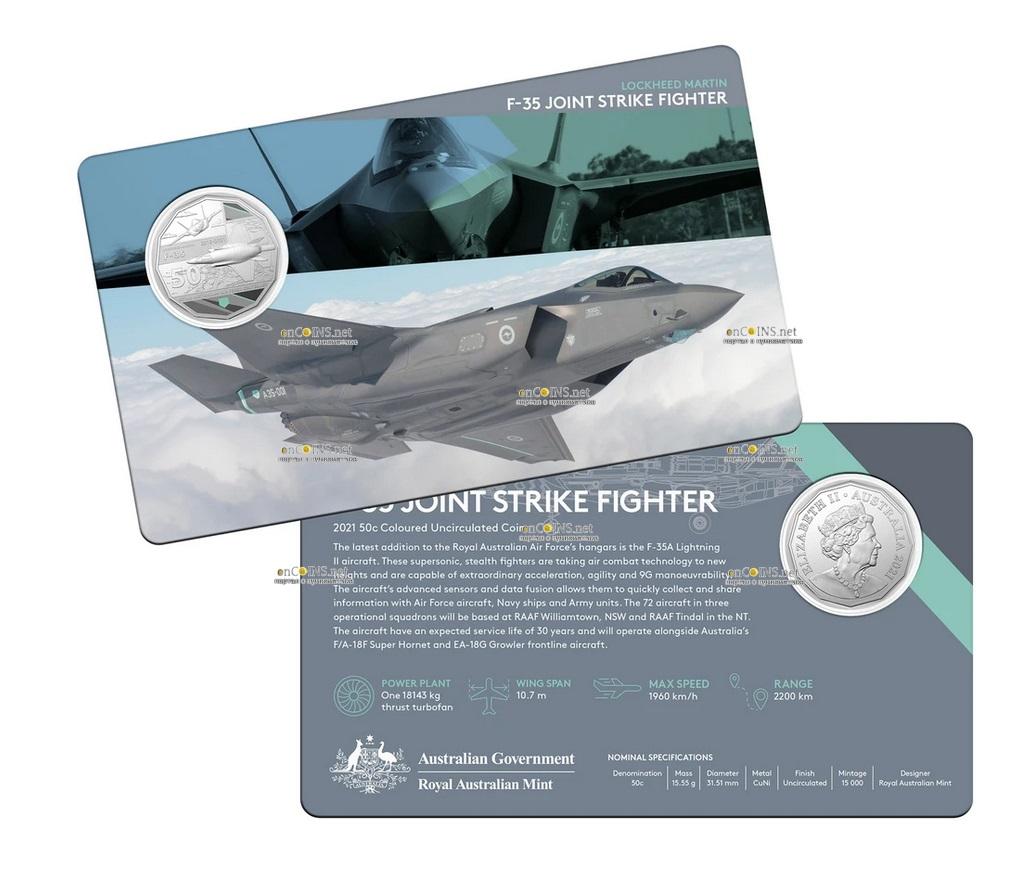 Австралия монета 50 центов F-35 JOINT STRIKE FIGHTER, подарочная упаковка