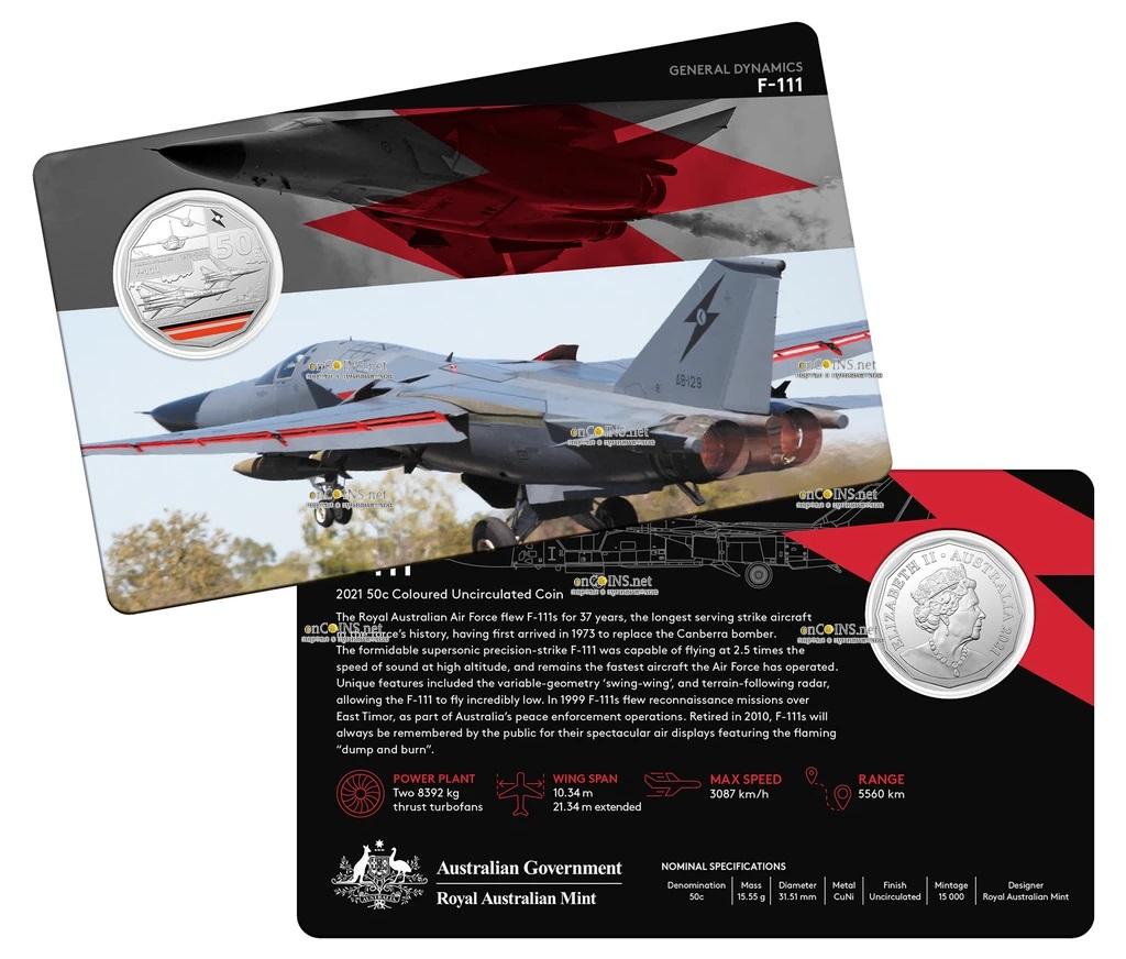 Австралия монета 50 центов General Dynamics F-111, подарочная упаковка