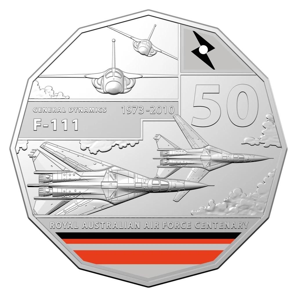 Австралия монета 50 центов General Dynamics F-111, реверс