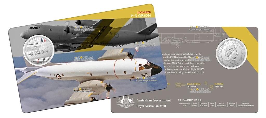 Австралия монета 50 центов Lockheed P-3 Orion, подарочная упаковка
