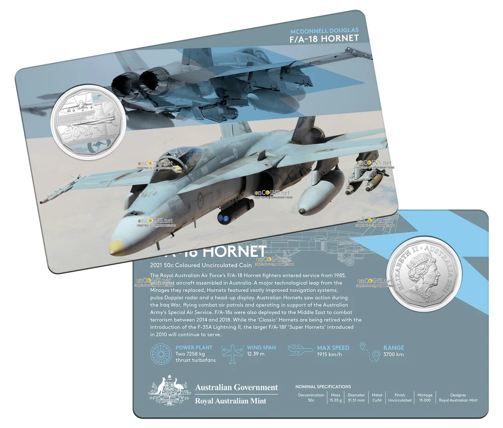 Австралия монета 50 центов McDonnell Douglas FA-18 Hornet, подарочная упаковка