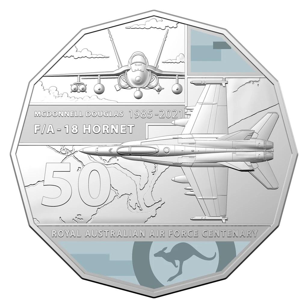 Австралия монета 50 центов McDonnell Douglas FA-18 Hornet, реверс