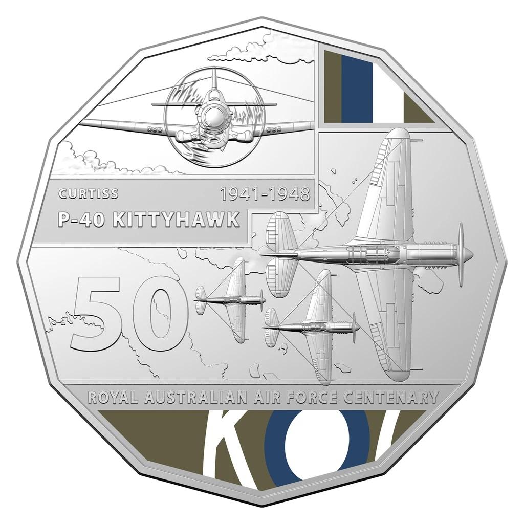 Австралия монета 50 центов P-40 KITTYHAWK, реверс