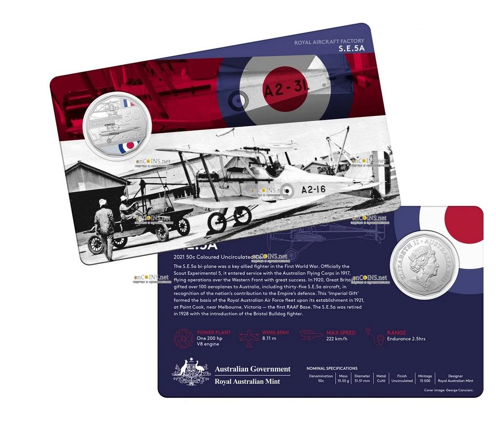 Австралия монета 50 центов Royal Aircraft Factory SE5, подарочная упаковка
