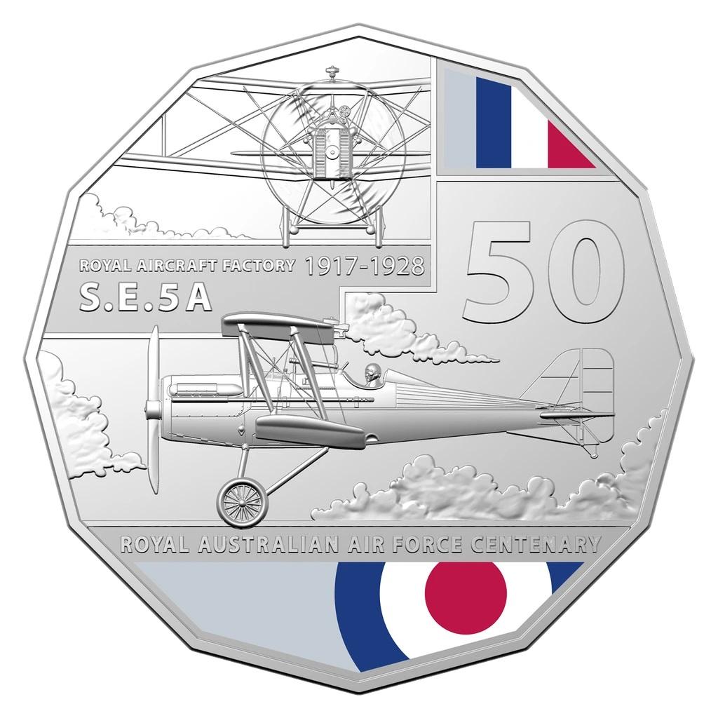 Австралия монета 50 центов Royal Aircraft Factory SE5, реверс