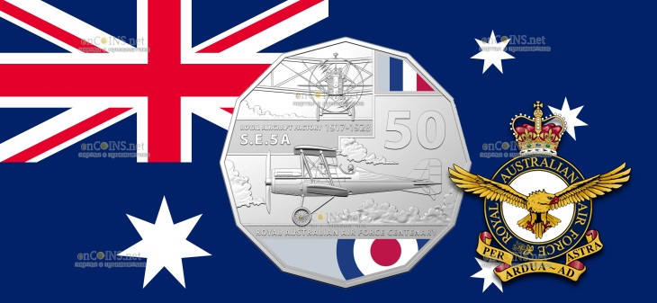 Австралия монета 50 центов Royal Aircraft Factory SE5