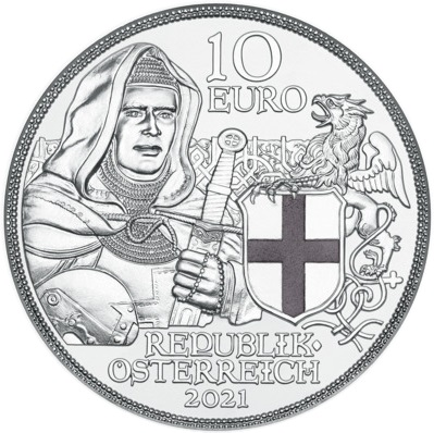 Австрия монета 10 евро Тевтонский орден и братство, аверс