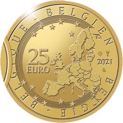 Бельгия монета 25 евро 2021 год, аверс