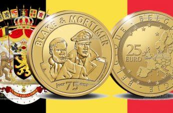 Бельгия монета 25 евро 75 лет Блейку и Мортимеру