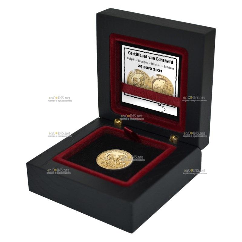 Бельгия монета 25 евро 75 лет Блейку и Мортимеру, пдарочная упаковка