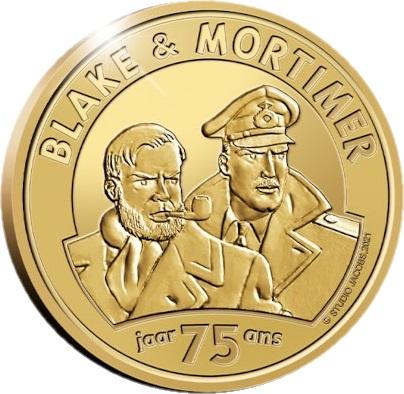Бельгия монета 25 евро 75 лет Блейку и Мортимеру, реверс