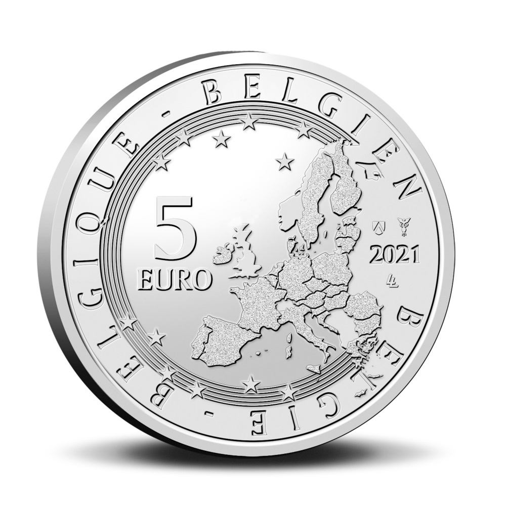 Бельгия монета 5 евро, 2021 год, аверс
