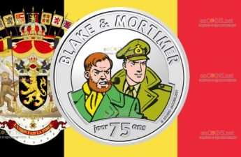Бельгия монета 5 евро 75 лет Блейку и Мортимеру
