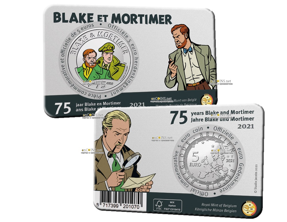 Бельгия монета 5 евро 75 лет Блейку и Мортимеру, подарочная упаковка