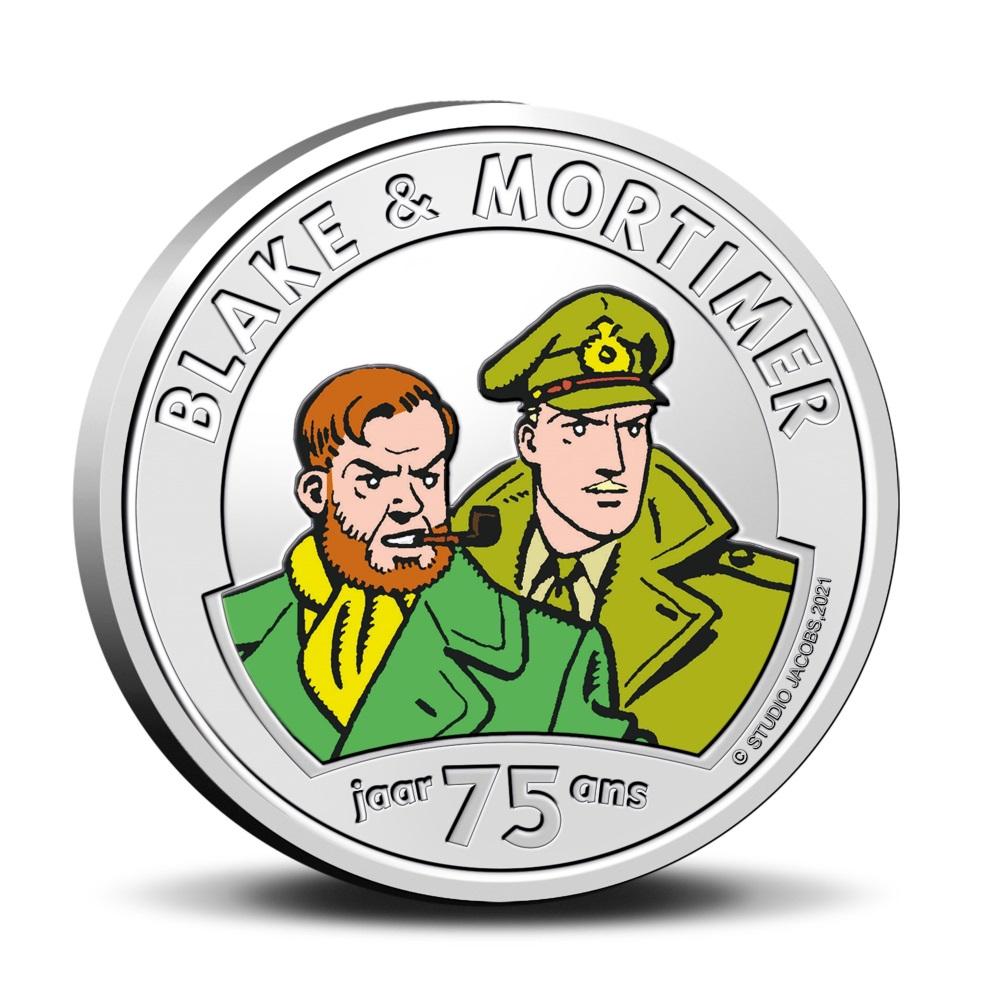 Бельгия монета 5 евро 75 лет Блейку и Мортимеру, реверс