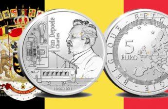 Бельгия монета 5 евро Чарльз Джозеф Ван Депоэль