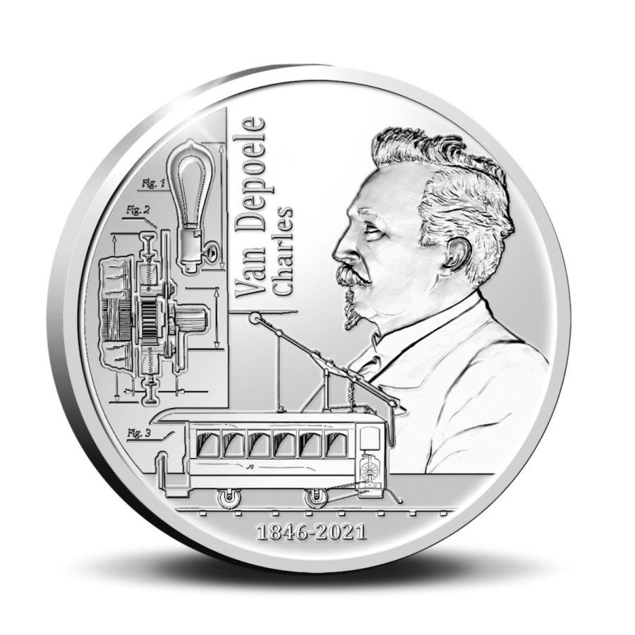 Бельгия монета 5 евро Чарльз Джозеф Ван Депоэль, реверс