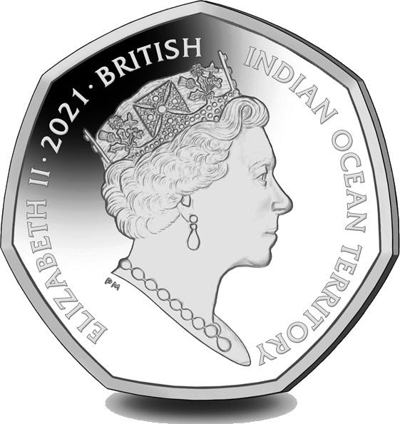 Британские территории в Индийском океане монетау 50 пенсов 2021 год, аверс