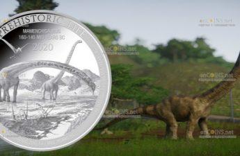 Демократическая Республики Конго монета 20 франков Мамэньсизавр