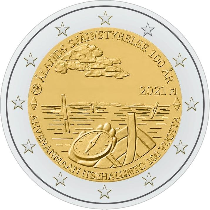 Финляндия выпускает монету 2 евро 100 лет Аландской автономии, реверс