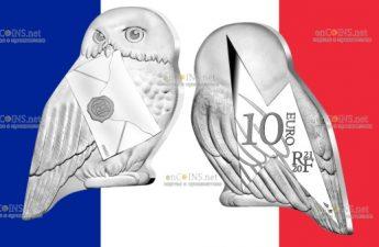 Франция монета 10 евро Сова Хедвиг