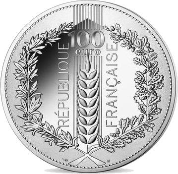 Франция монета 100 евро Лавр, аверс