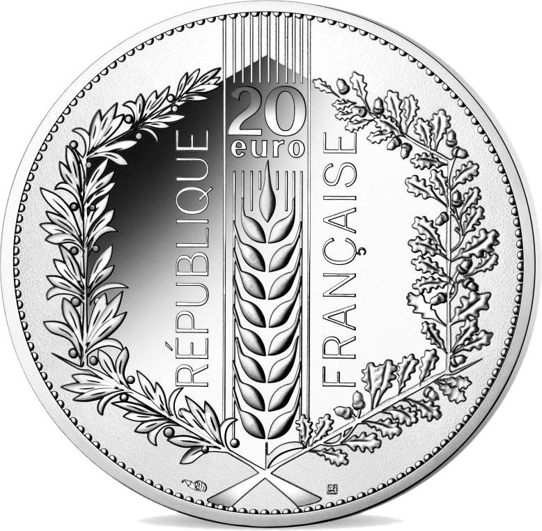 Франция монета 20 евро Лавр, аверс