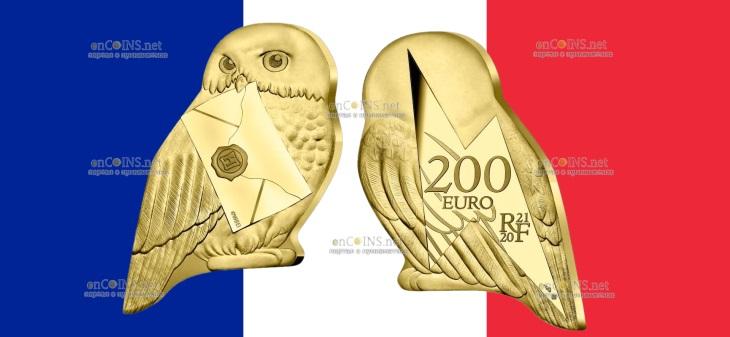 Франция монета 200 евро Сова Хедвиг