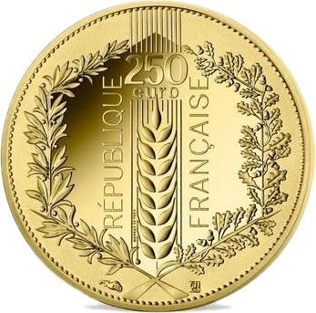 Франция монета 250 евро Лавр, аверс