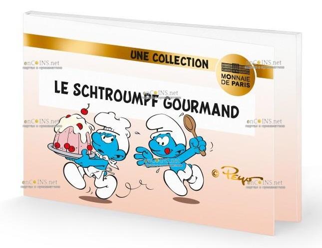 Франция монета 50 евро Жадный Смурф, подарочная упаковка