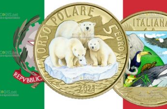 Италии монета 5 евро Белый медведь