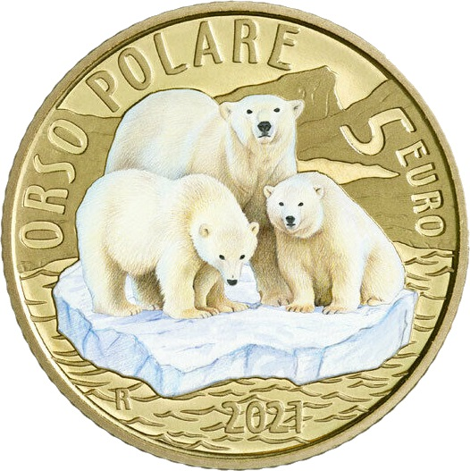 Италии монета 5 евро Белый медведь, реверс