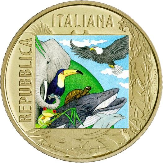 Италии монета 5 евро серии Вымирающие животные, аверс
