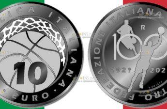 Италия монета 10 евро Федерации баскетбола Италии