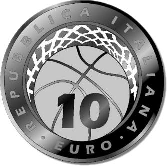 Италия монета 10 евро Федерация баскетбола Италии, аверс