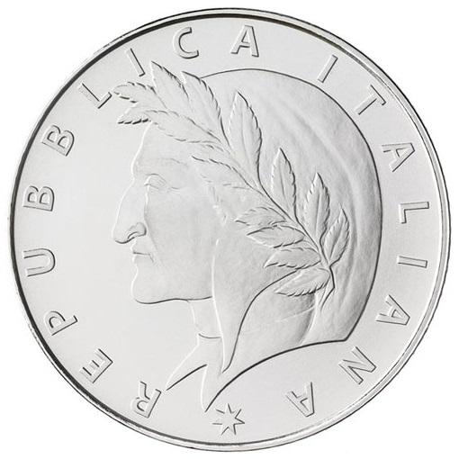 Италия монета 5 евро Данте Алигьери, аверс