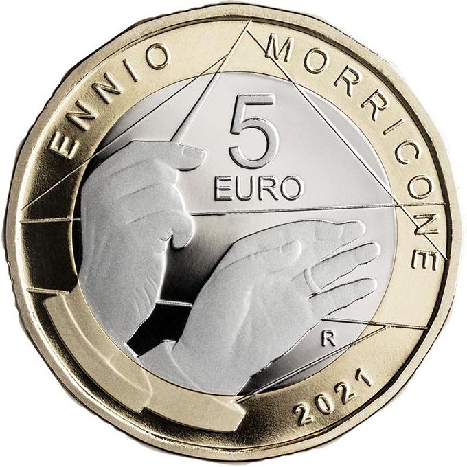 Италия монета 5 евро Эннио Морриконе, аверс