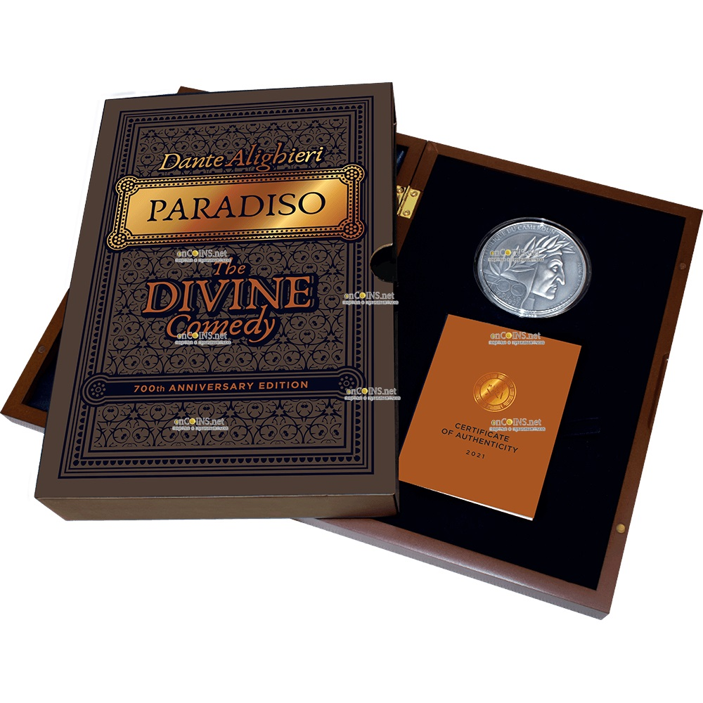 Камерун монета 5000 франков Божественная комедия, подарочная упаковка
