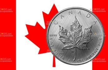 Канада монета 5 долларов Серебряный кленовый лист