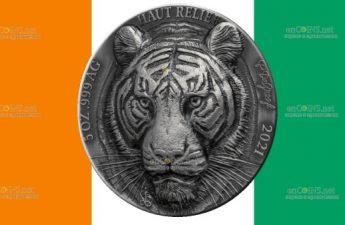 Кот-д 'Ивуар выпускает монету 5 франков КФА Бенгальский тигр