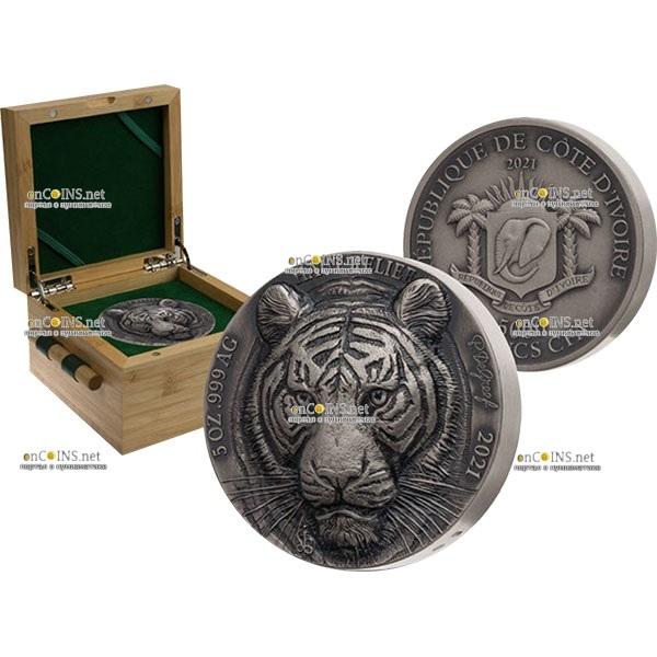 Кот-д 'Ивуар выпускает монету 5 франков КФА Бенгальский тигр, подарочная упаковка