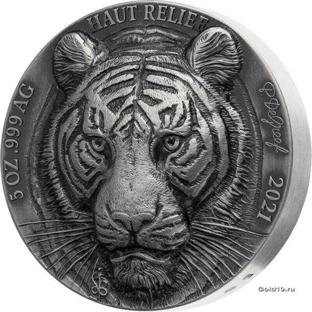 Кот-д 'Ивуар выпускает монету 5 франков КФА Бенгальский тигр, реверс