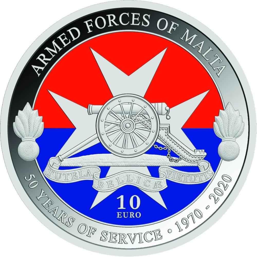 Мальта монета 10 евро 50-летию вооруженным силам Мальты, реверс