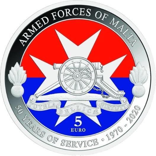 Мальта монета 5 евро 50-летию вооруженным силам Мальты, реверс