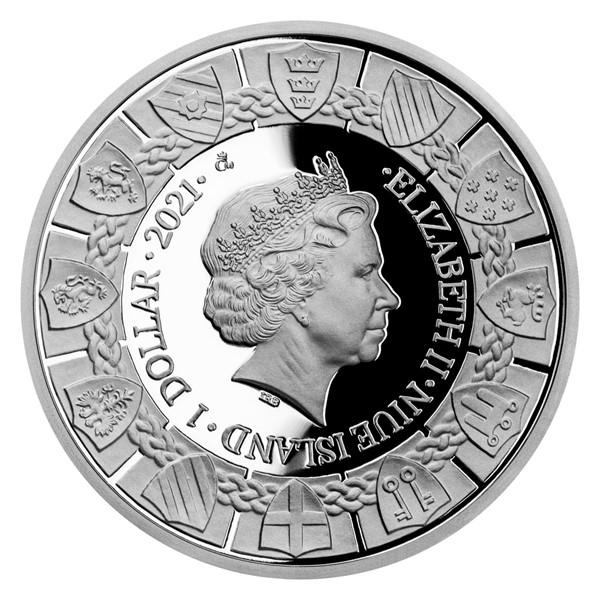 Ниуэ монета 1 доллар Экскалибур и Леди Озера, аверс