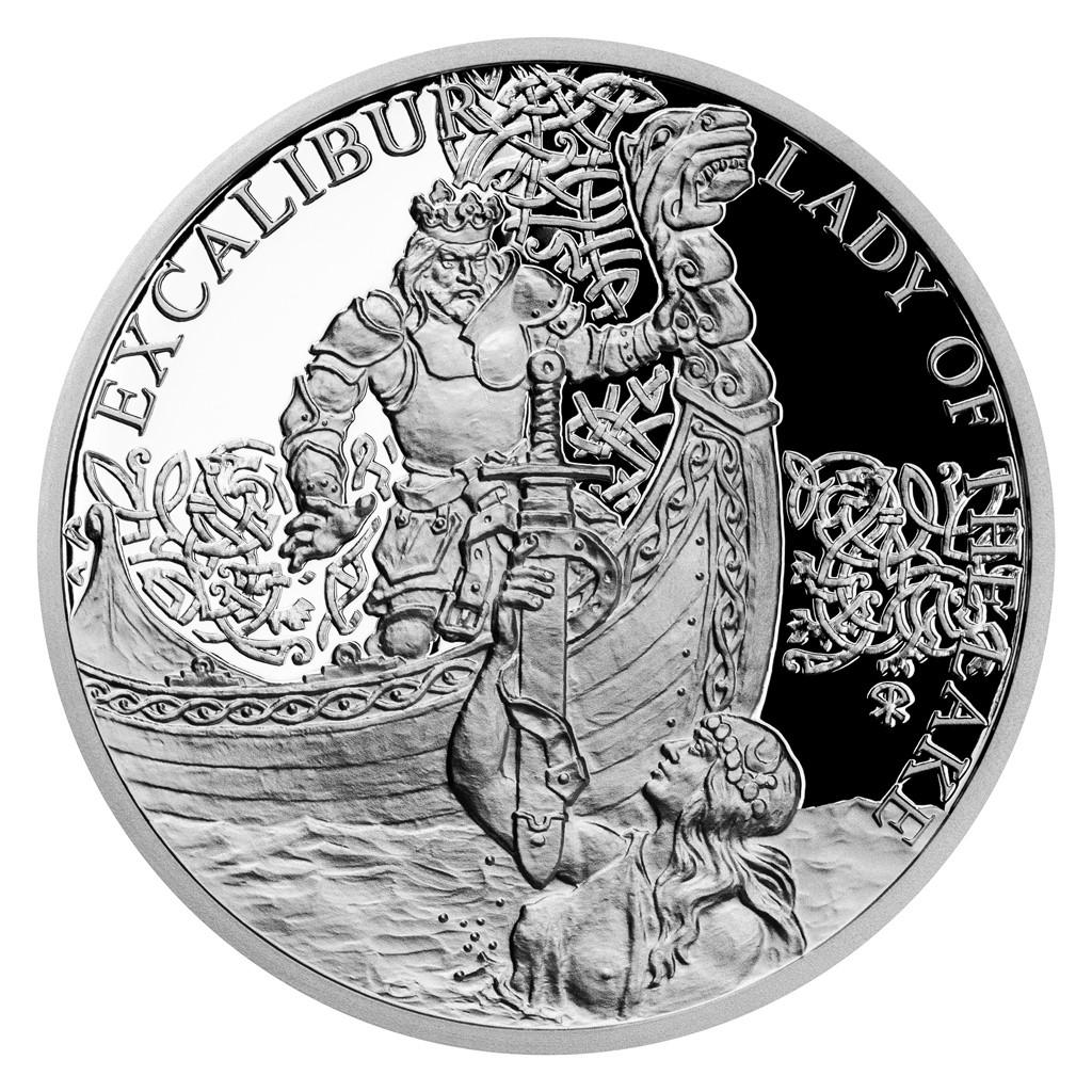 Ниуэ монета 1 доллар Экскалибур и Леди Озера, реверс